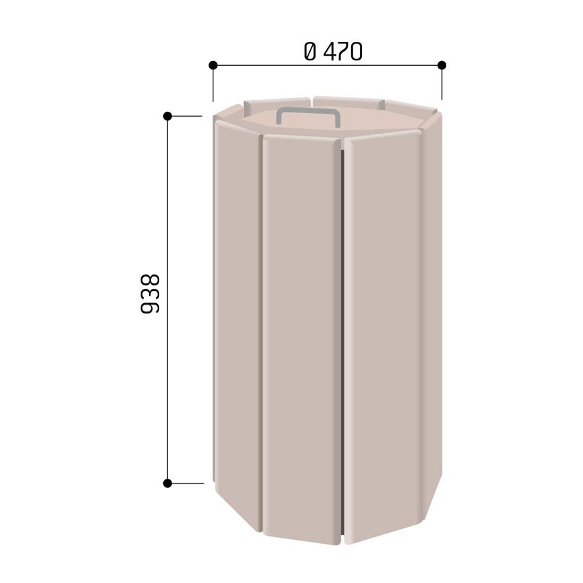poubelle en bois octogonale avec couvercle 100l ekorys. Black Bedroom Furniture Sets. Home Design Ideas
